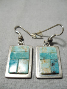 Some Of Best Vintage Native American Navajo Jackson Royston Turquoise Sterling Silver Earrings