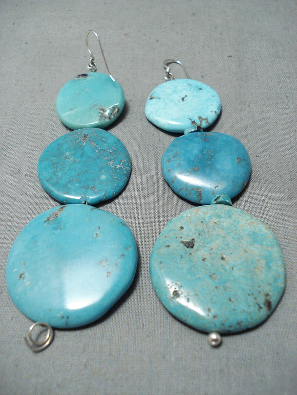 Impressive Navajo Turquoise Sterling Silver Earrings Native American