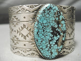 Native American Magnificent Huge Intense Spiderweb Turquoise Sterling Silver Bracelet