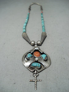 Marvelous Vintage Native American Navajo Turquoise Sterling Silver Necklace