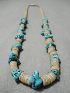 Native American Rare Older Vintage Santo Domingo Graduating Shell Turquoise Necklace Old