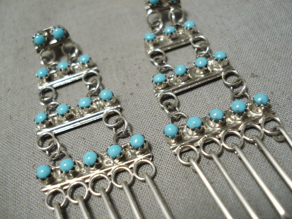 Fabulous Turquoise Sterling Silver Earrings Native American