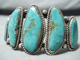 Gorgeous Nez Vintage Native American Navajo Royston Turquoise Sterling Silver Bracelet