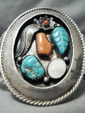 Leaf Turquoise Vintage Native American Navajo Sterling Silver Coral Bracelet Cuff Old