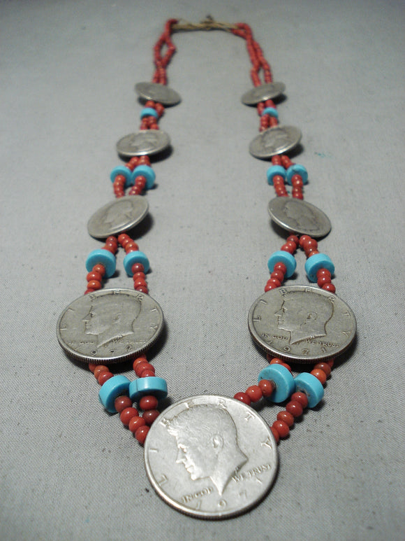 Incredible Vintage Navajo Coin Silver Native American Necklace