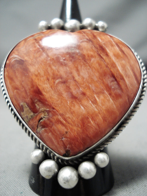 Lyle Cadman Native American Navajo Spiny Oyster Sterling Silver Heart Ring