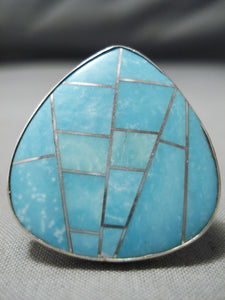 Intense Inlay Native American Turquoise Sterling Silver Native American Ring
