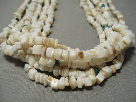 Heavy Rare Vintage Navajo Squared White Coral Native American Necklace Old