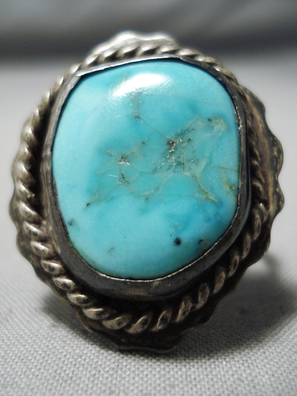 Astonishing Vintage Native American Navajo Royston Turquoise Sterling Silver Ring Old