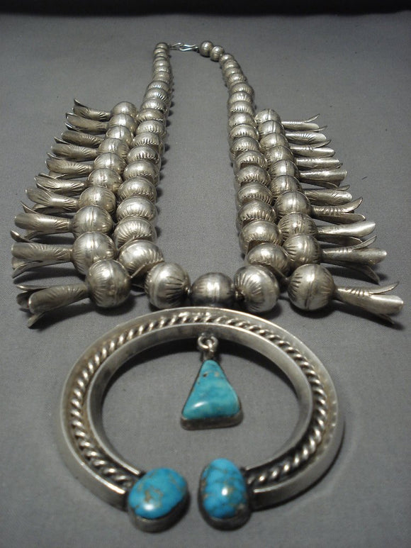 300 Grams!! Vintage Native American Jewelry Navajo Turquoise Sterling Silver Squash Blossom Necklace Old-Nativo Arts