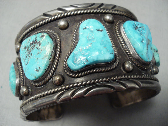 Native American Heavy Thick Men's Large Wrist Turquoise Sterling Silver Bracelet Old
