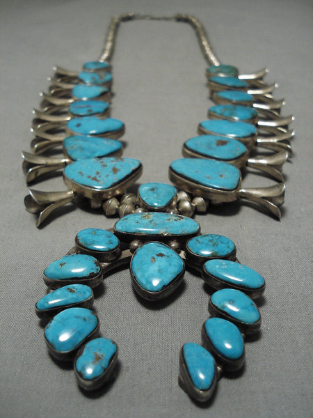 Opulent Vintage Native American Navajo Morenci Turquoise Sterling Silver Squash Blossom Necklace