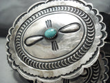 Authentic Vintage Native American Navajo Turquoise Sterling Silver Concho Belt Old