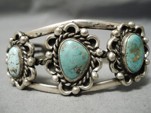 Early Vintage Native American Navajo Natural Royston Turquoise Sterling Silver Bracelet Old
