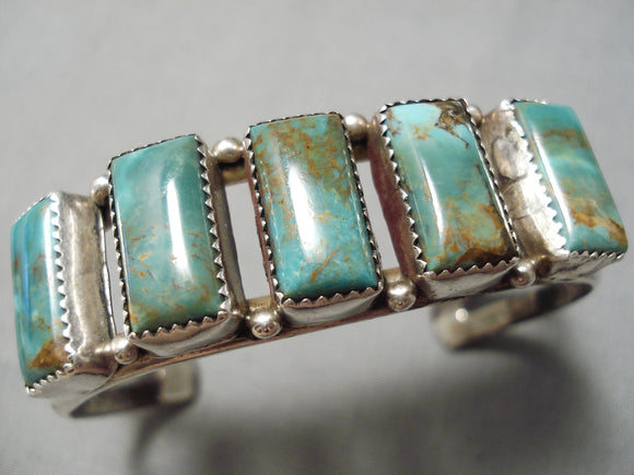 Important Vintage Native American Navajo Fannie Platero Turquoise Sterling Silver Bracelet