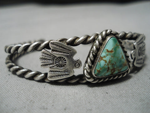 Earlier 1900's Vintage Native American Navajo Royston Turquoise Sterling Silver Bracelet Old