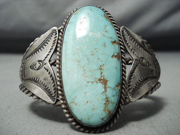 One Of The Best Early Vintage Native American Navajo #8 Turquoise Sterling Silver Bracelet