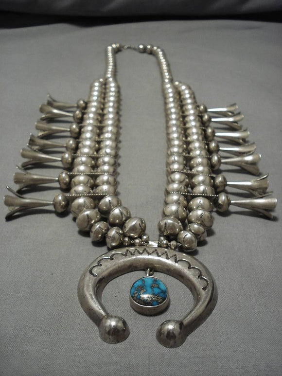 317 Gram Vintage Native American Navajo Sterling Silver Turquoise Squash Blossom Necklace-Nativo Arts