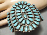 Huge Vintage Native American Navajo Tears Of Joy Turquoise Sterling Silver Bracelet Old