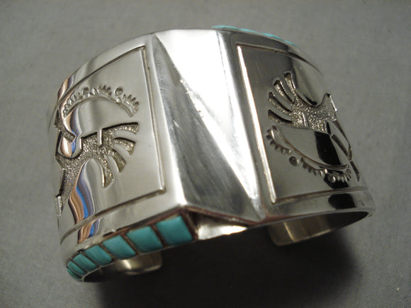 Huge Modernistic Native American Navajo Turquoise Sterling Silver Side Inlay Bracelet