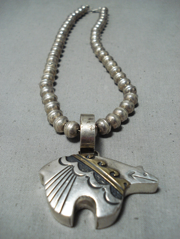 Authentic Thomas Singer Vintage Native American Navajo Sterling Silver Gold Necklace