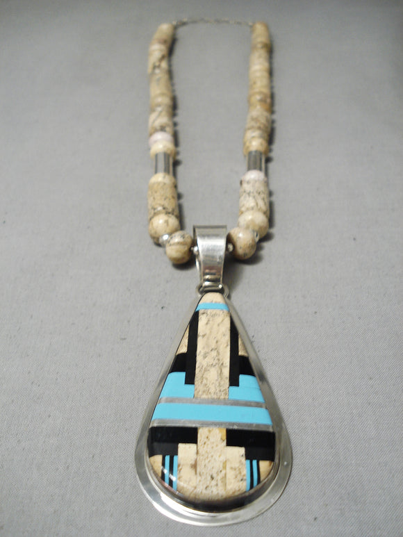 Important Santo Domingo Dan Coriz Sterling Silver Native American Necklace