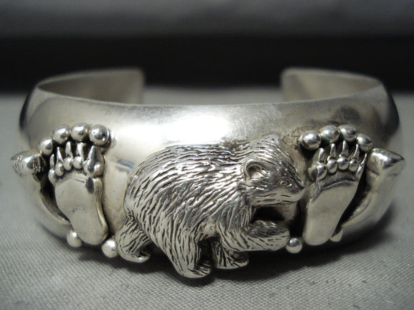 Detailed Vintage Native American Navajo Bearr Sterling Silver Tracks Bracelet