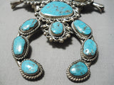 Chunky Huge Vintage Native American Navajo Turquoise Sterling Silver Squash Blossom Necklace