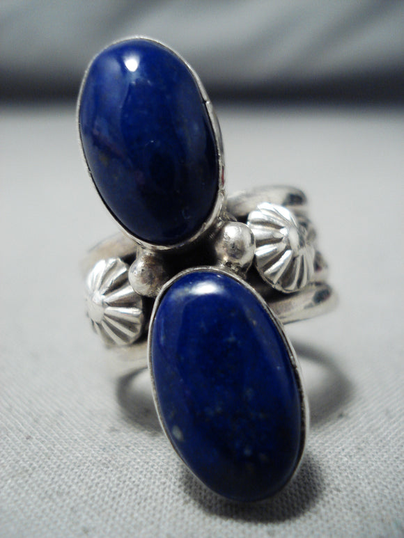 Amazing Navajo Lapis Sterling Silver Ring Native American