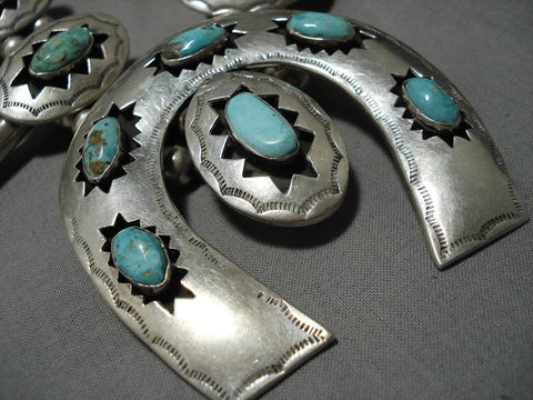 331 Gram Vintage Native American Navajo Rare Turquoise Sterling Silver Squash Blossom Necklace-Nativo Arts