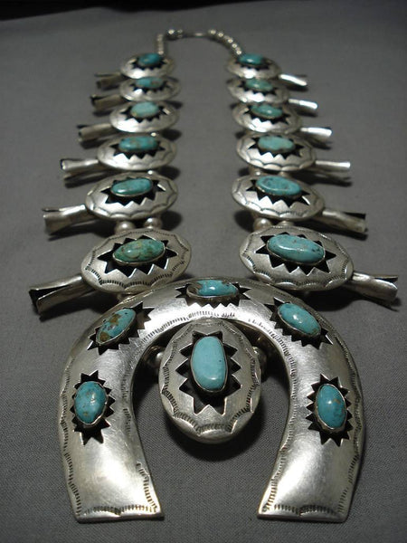 331 Gram Vintage Native American Navajo Rare Turquoise Sterling Silver Squash Blossom Necklace