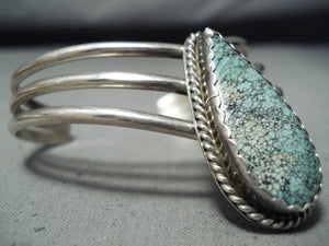 Fabulous Nez Native American Navajo Spiderweb Turquoise Sterling Silver Bracelet Signed