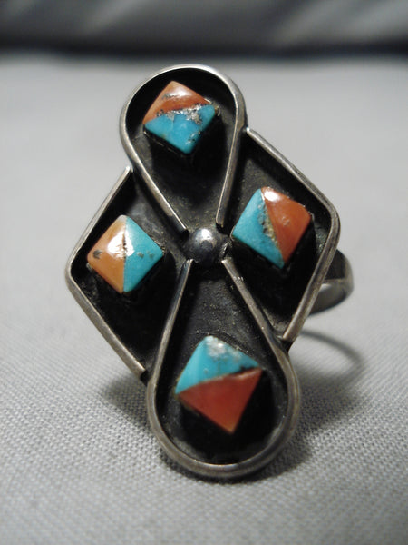 Amazing Vintage Zuni Native American Inlay Turquoise Sterling Silver Ring
