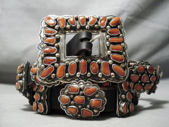 Heavy Important Vintage Native American Coral Sterling Silver Concho Belt Old