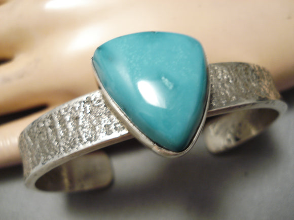 Amazing Vintage Native American Navajo Carico Lake Turquoise Sterling Silver Thick Bracelet