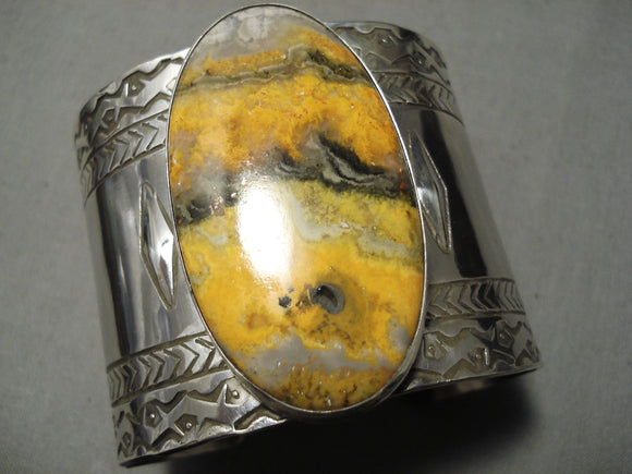 Amazing Modernistic Native American Sterling Silver Repoussed Heavy Bracelet