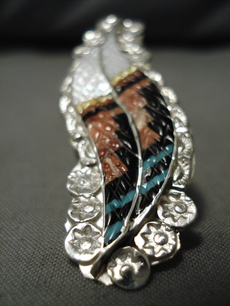 Important Vintage Native American Zuni Turquoise Coral Inlay Sterling Silver Feather Ring