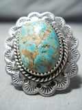 Fabulous San Felipe Native American 8 Turquoise Sterling Silver Ring