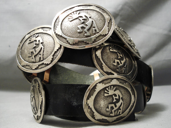 Superior Vintage Native American Navajo Hand Wrought Sterling Silver Concho Belt Old