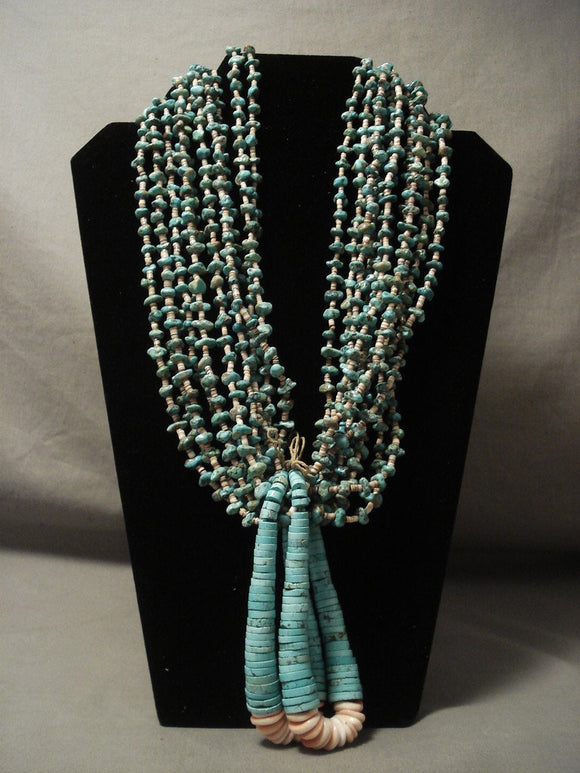 343 Gram Very Old Green Turquoise Necklace Old-Nativo Arts