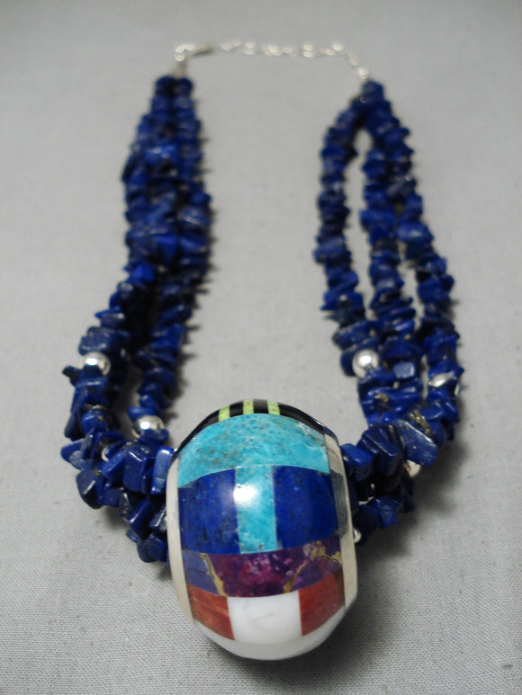 Native American Important Vintage Santo Domngo Lapis Turquoise Sterling Silver Necklace
