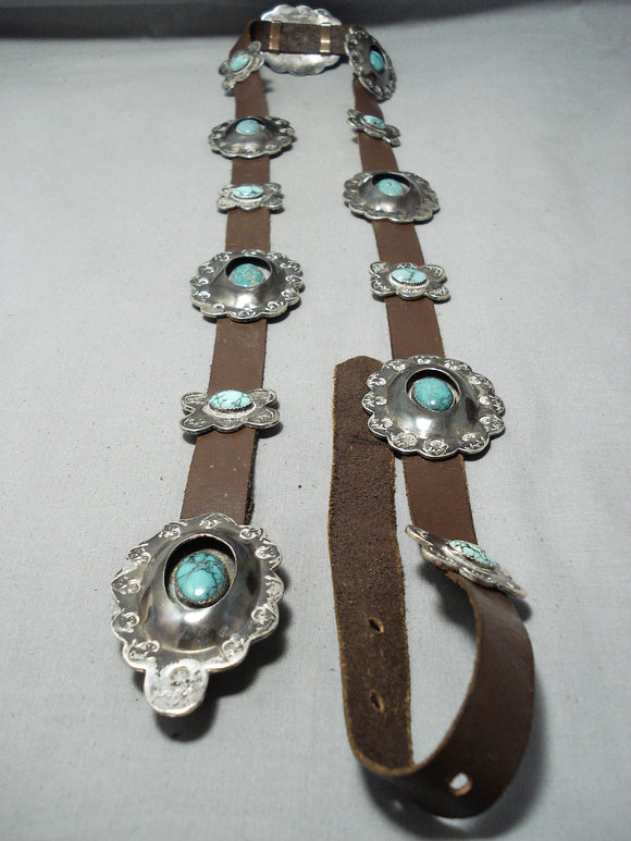 Carico Lake Turquoise Vintage Native American Navajo Sterling Silver Concho Belt Old