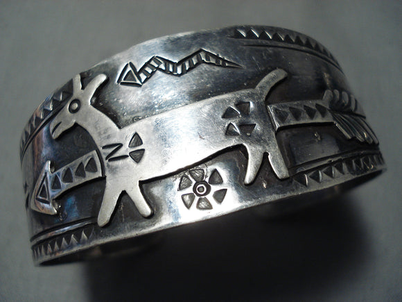 Early Huge Animal Vintage Native American Navajo Sterling Silver Bracelet Cuff Old