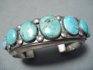 Heavy Thick Vintage Native American Navajo Graduating Turquoise Sterling Silver Bracelet