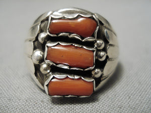 Chunky Red Coral Vintage Navajo Sterling Silver Native American Ring