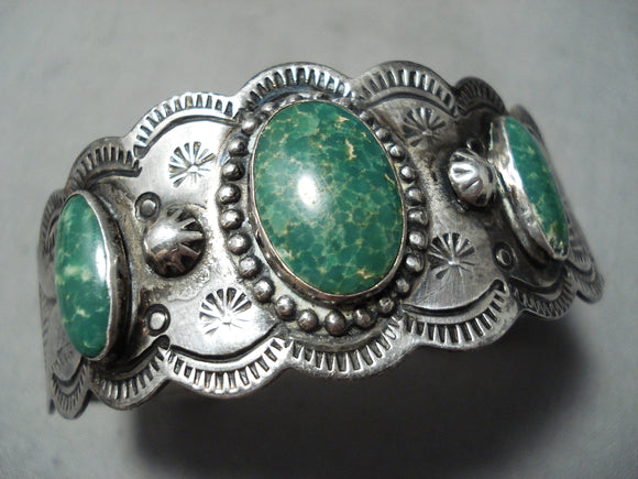 Early Vintage Native American Navajo Cerrillos Turquoise Sterling Silver Hand Tooled Bracelet