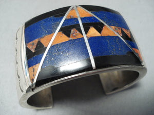 Best Mary Morgan Vintage Native American Navajo Lapis Sterling Silver Bracelet