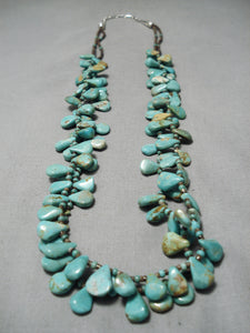 Museum Vintage Native American Navajo Tears Of Joy Turquoise Sterling Silver Necklace