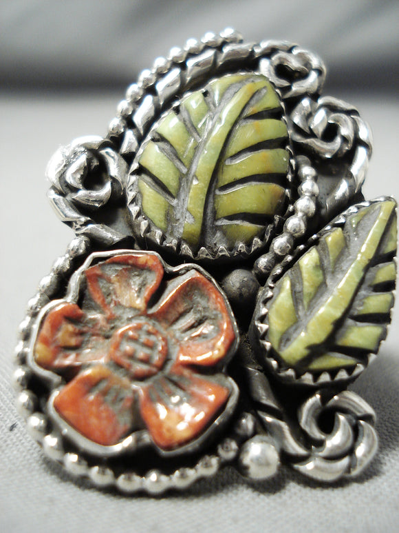 Native American Important Hand Carved Royston Turquoise Coral Sterling Silver Ring