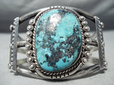 Jaw Dropping Vintage Native American Navajo Turquoise Sterling Silver Bracelet Old